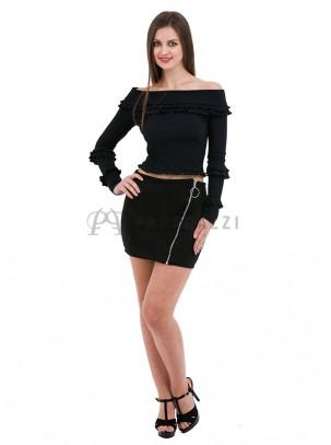Mini falda de ante con detalle de cremallera