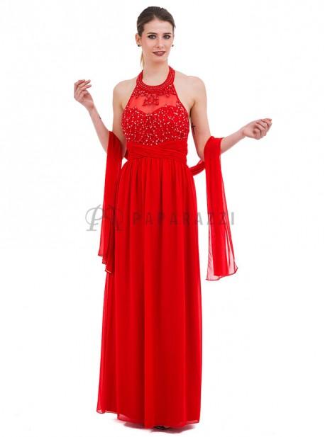 Vestido de gasa con transparencia , bordados y perlas