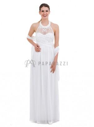 Vestido de gasa con transparencia, bordados y perlas, chal incluido
