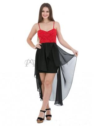 Vestido de cola palabra de honor con tirante fino y bordado de lentejuelas