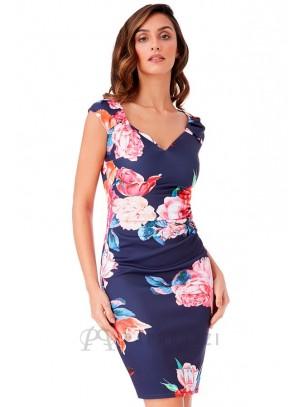 Vestido ajustado con pliegues y estampado floral
