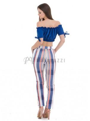 Pantalón de rayas multicolor con bolsillos laterales