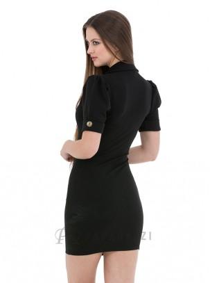 Vestido de manga corta con cuello de solapa y detalle de botones