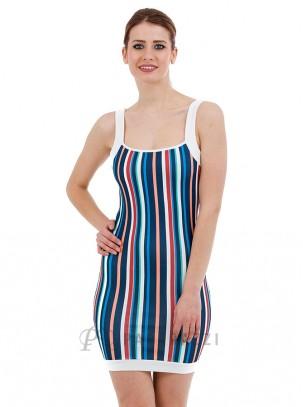 Vestio de rayas multicolor con tirante ancho y pequeña abertura en espalda
