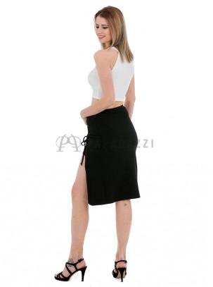 Falda midi con abertura lateral de cordones