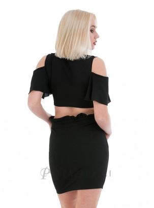 Mini falda con detalle de volante en cintura