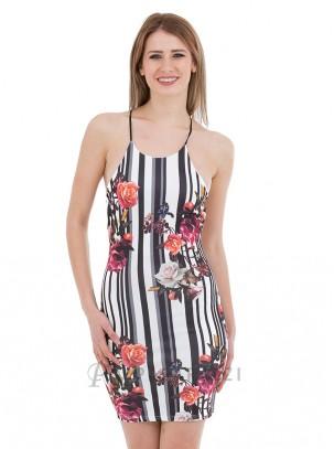 Vestido de rayas y estampado floral con espalda descubierta y tirantes finos en X