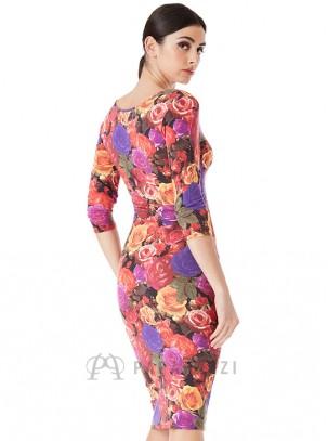 Vestido midi con mangas 3/4 en estampado floral