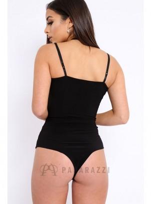 Body de tirante fino sin costuras con transparencia y aplique bordado en escote