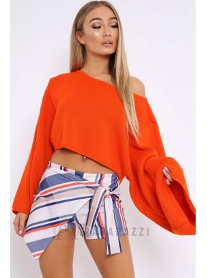 Falda pantalón de rayas multicolor con cierre de nudo lateral