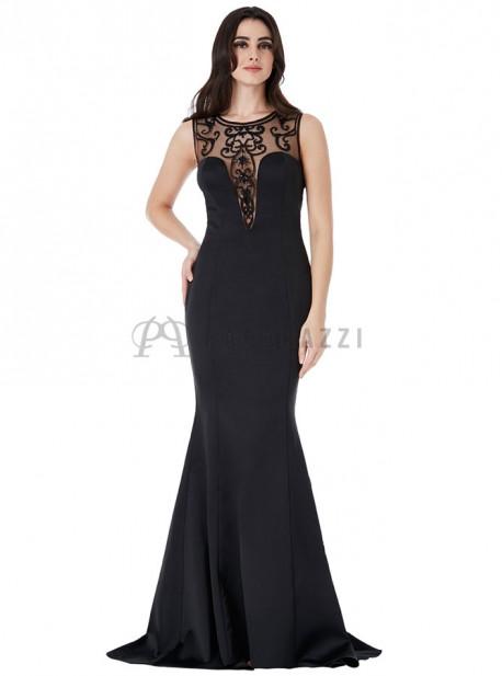 Vestido de satén y cola corte sirena con detalle de volante y transparencia con bordados y pedrería en el mismo tono