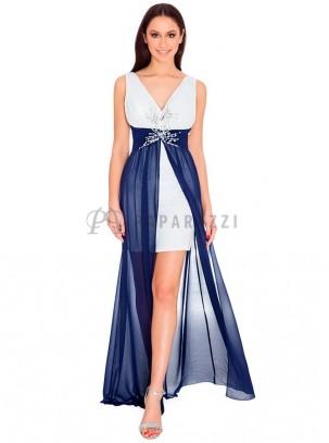 Vestido largo de gasa transparente con mini falda y detalle de pedreria en el pecho