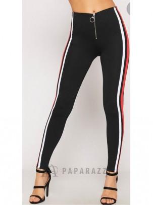 Pantalón tipo legging con franjas laterales multicolor y detalle de cremallera