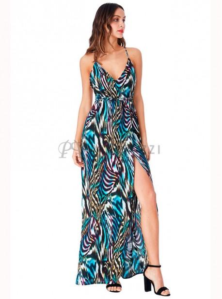 Vestido de gasa en estampado multicolor con espalda descubierta y abertura delantera