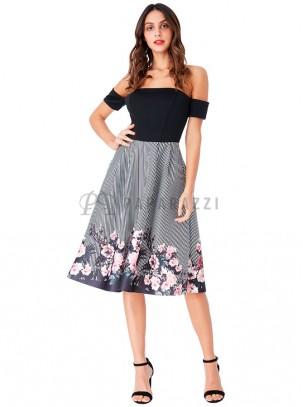 Vestido de vuelo de estilo bardot en estampado floral y de rayas