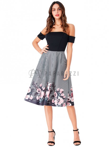 1408dd2304 Vestido de vuelo de estilo bardot en estampado floral y de rayas ...
