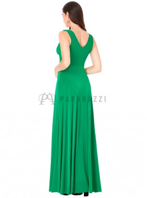 Vestido largo de tirante ancho con detalle de nudo en escote