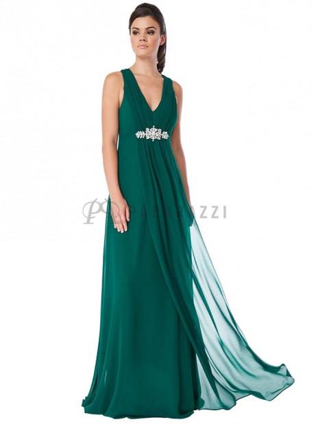 Vestido de gasa con detalle de pedrería