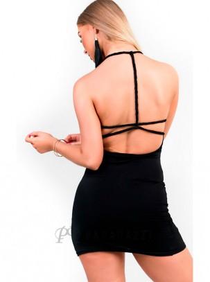 Vestido ajustado de doble lycra drapeado en lateral y con tirantes trenzados en espalda descubierta