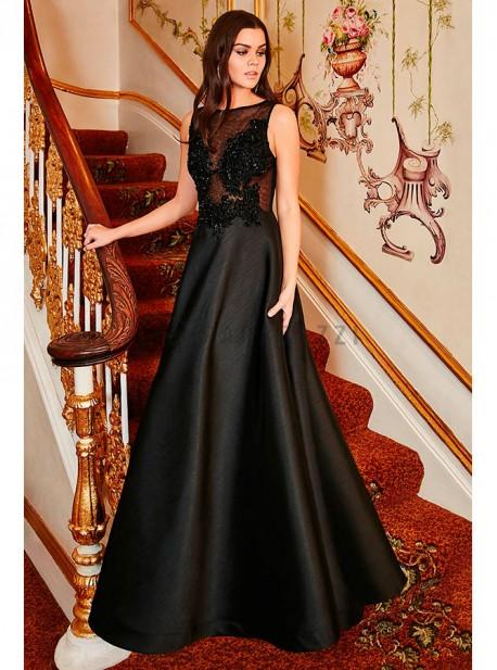 Vestido De Gala Con Transparencia Y Bordado Con Piedras Hecho A Mano En La Parte Superior