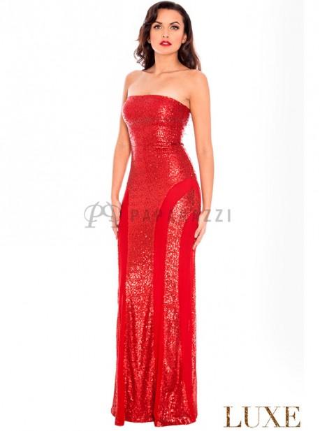 Vestido de lentejuelas palabra de honor de corte sirena, con tirantes opcionales incluidos