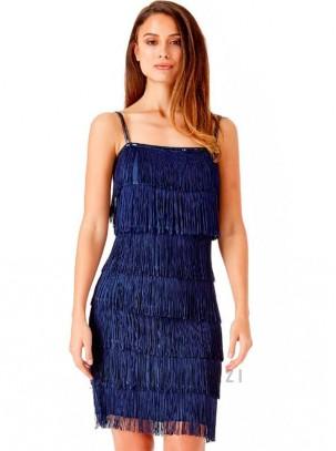 Vestido de tirante fino con flecos estilo Charleston
