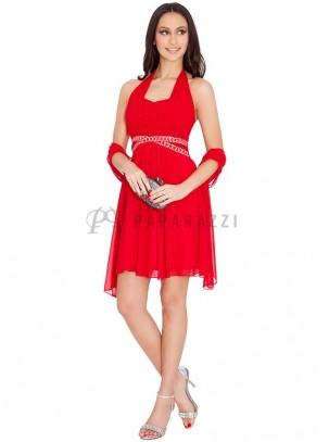 Vestido de gasa atado al cuello con pedrería