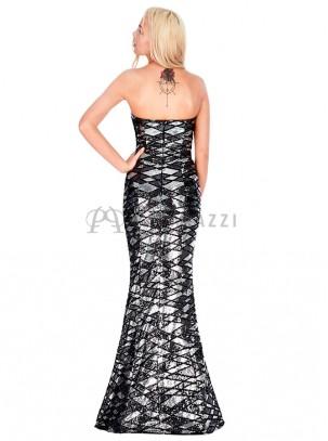 Vestido corte sirena de palabra de honor con diseño de lentejuelas