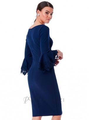 Vestido midi con escote fruncido en forma de corazón y volantes en las mangas con detalle de bordado