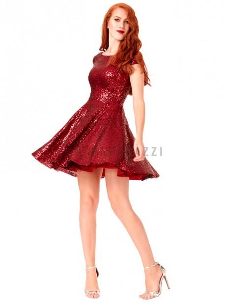 Vestido De Lentejuelas Con Vuelo Y Escote En V En Espalda