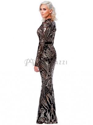 Vestido corte sirena de manga larga con escote en V y diseño de lentejuelas