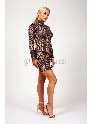 Vestido ajustado de estampado leopardo con manga larga