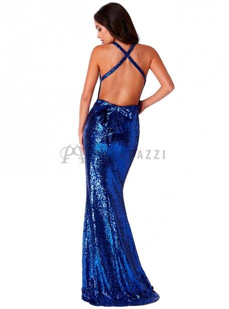 Vestido corte sirena de lentejuelas con espalda descubierta