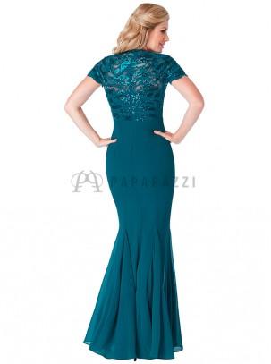 Vestido corte sirena de gasa con la parte superior de encaje y lentejuelas en el mismo tono
