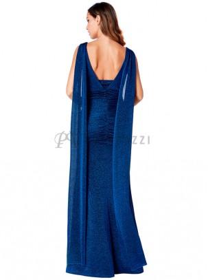 Vestido de lurex drapeado de corte sirena, con escote en V en pecho y espalda y detalle en la misma tela efecto chal