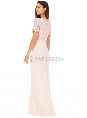 Vestido de gasa con detalles de encaje y lentejuelas