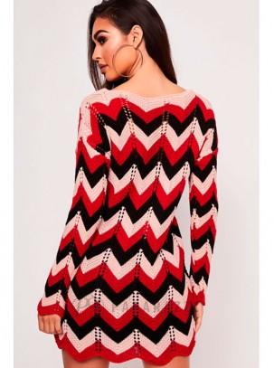 Vestido de punto multicolor de manga larga con diseño en zigzag y bajo festoneado