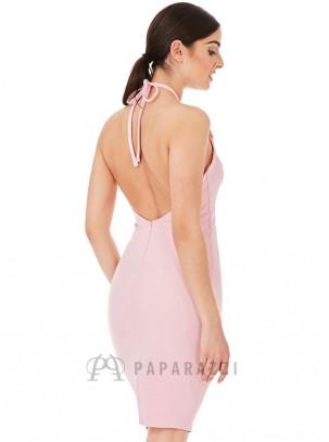 Vestido midi con espalda descubierta y detalle en el escote