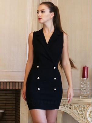 Vestido ajustado con escote cruzado, cuello de solapa y detalles de botones