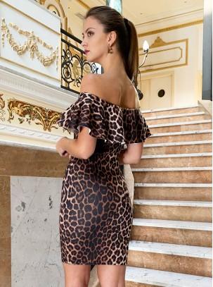 Vestido de estampado leopardo con detalle de volante