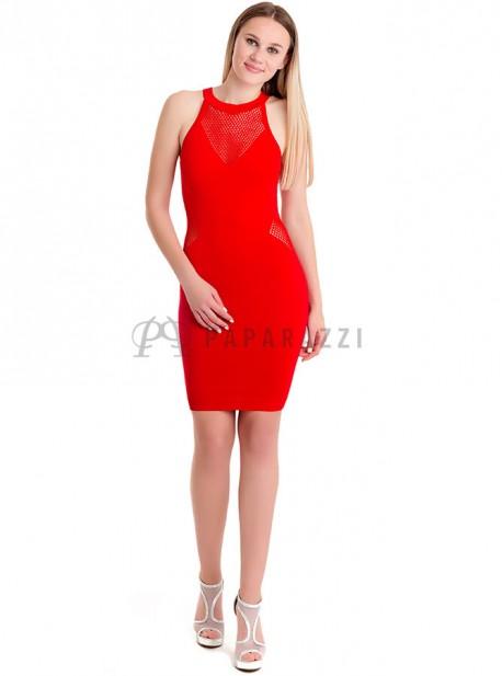 Vestido ajustado con detalles de transparencia
