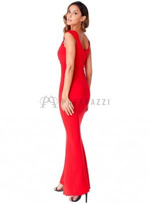 Vestido drapeado de estilo sirena con detalle de brillantes en tirante ancho