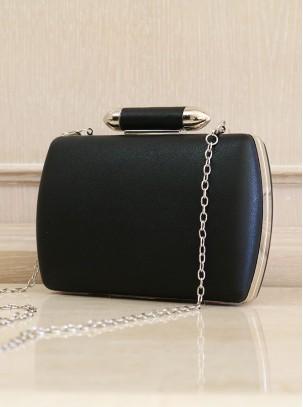 Bolso clutch con cierre de broche y cadena opcional