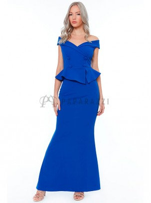 Vestido corte sirena de estilo bardot con cuello de solapa 1b932388a95