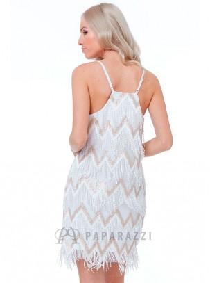 Vestido de flecos estilo Charleston con lentejuelas, diseño en zigzag y tirante fino regulable