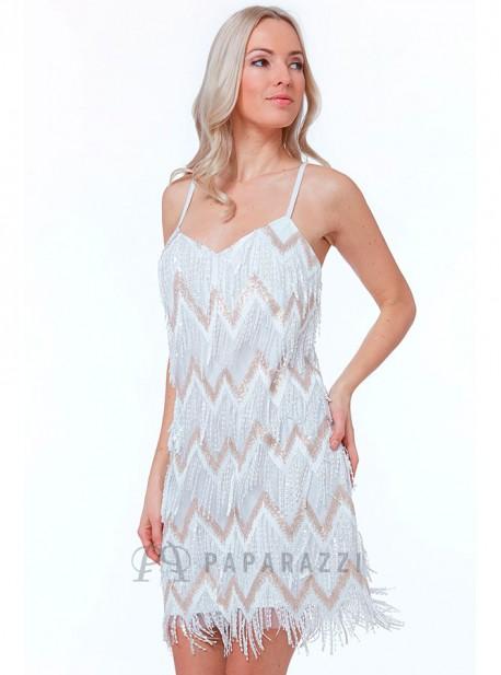 Vestido De Flecos Estilo Charleston Con Lentejuelas Diseño En Zigzag Y Tirante Fino Regulable