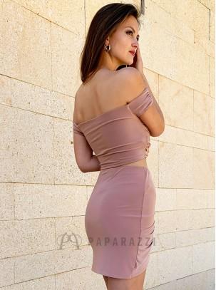 Mini falda ajustada de doble lycra con detalle de nudo en la parte delantera