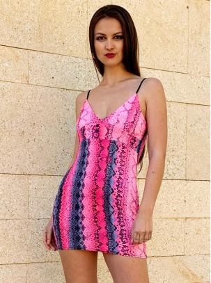 Vestido corto con estampado serpiente bicolor de tirante fino