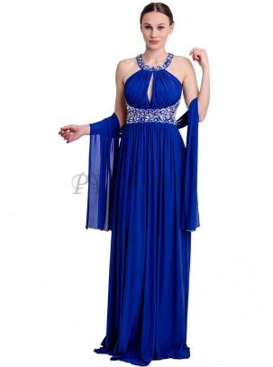 Vestido de gasa con espalda descubierta y pedrería