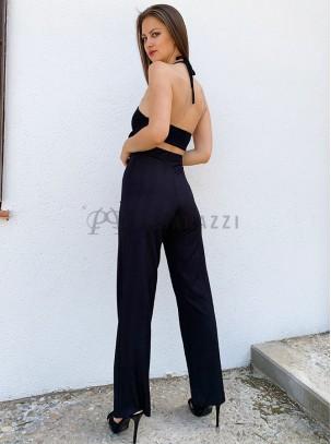 Conjunto de top corto con detalle de lazo opcional en escote y pantalón de estilo palazzo